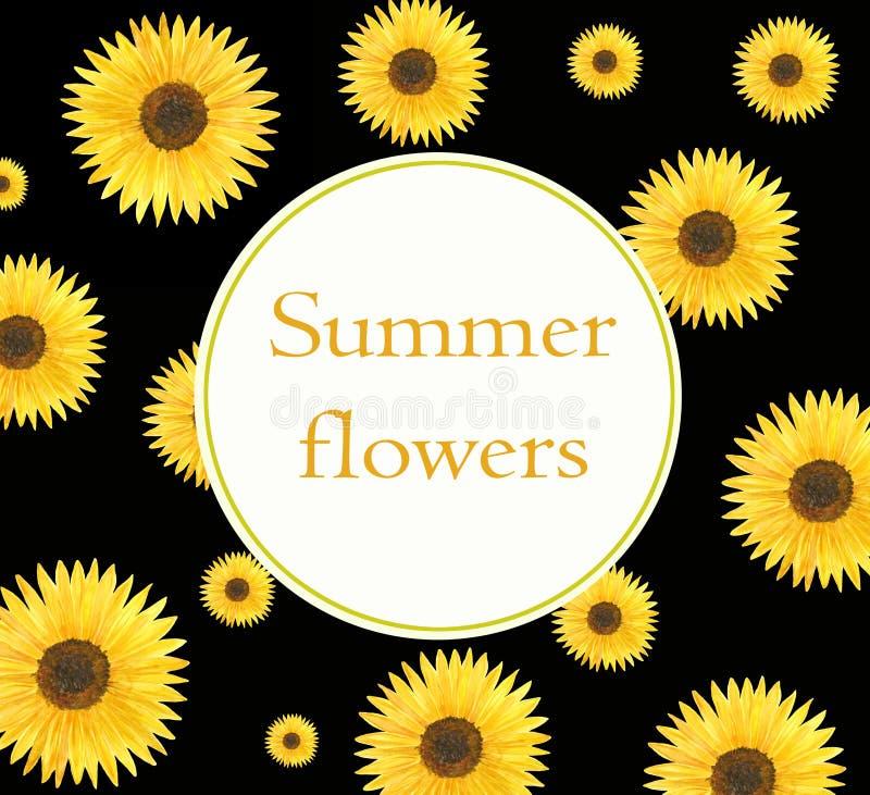 Floral κάρτα και ιπτάμενο ηλίανθων προτύπων Watercolor απεικόνιση αποθεμάτων