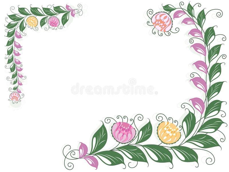 Floral κάρτα στροβίλου με το άνθισμα της Λιάνα ελεύθερη απεικόνιση δικαιώματος