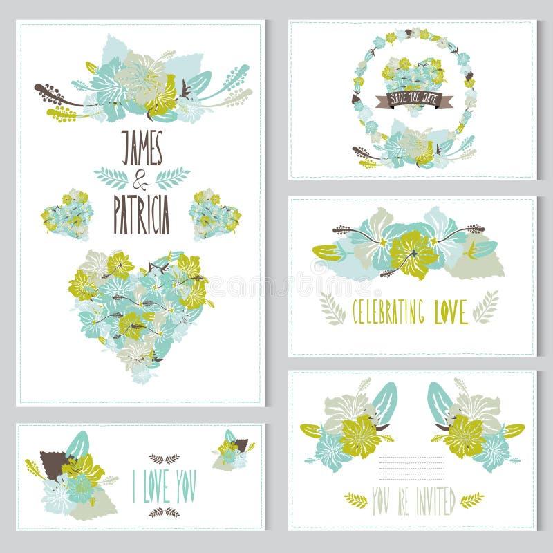 Floral κάρτες καθορισμένες διανυσματική απεικόνιση