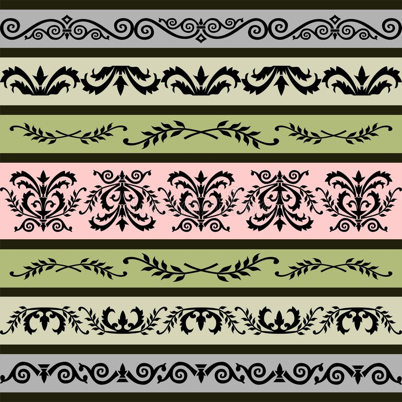 floral καθορισμένο διάνυσμα συνόρων διανυσματική απεικόνιση