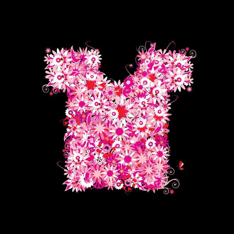 floral καλοκαίρι τ πουκάμισων απεικόνιση αποθεμάτων