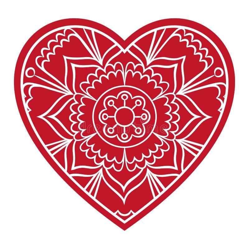 Floral καρδιά Doodle διανυσματική απεικόνιση