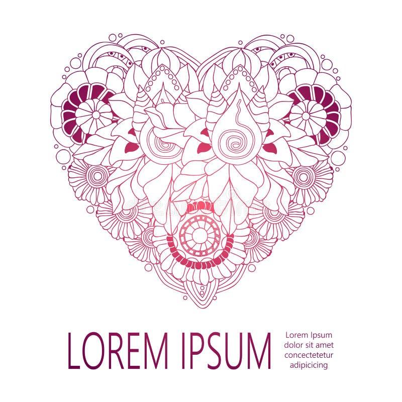 Floral καρδιά αποθεμάτων doodle με τη θέση για το κείμενο Πρότυπο ελεύθερη απεικόνιση δικαιώματος