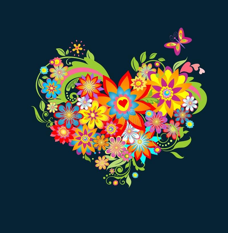 floral καρδιά περίκομψη διανυσματική απεικόνιση
