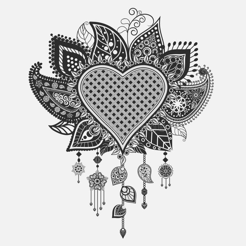 Floral καρδιά - catcher ονείρου διανυσματική απεικόνιση