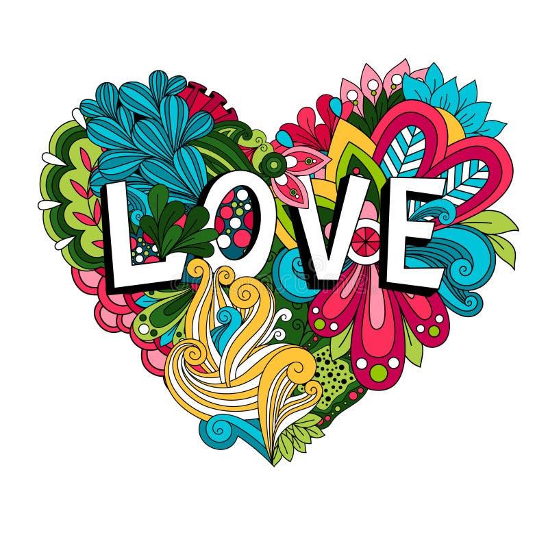 Floral καρδιά Doodle με την εγγραφή αγάπης ελεύθερη απεικόνιση δικαιώματος