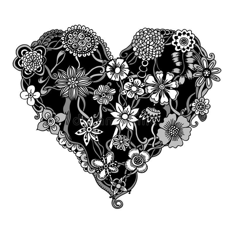 Floral καρδιά Doodle απεικόνιση αποθεμάτων