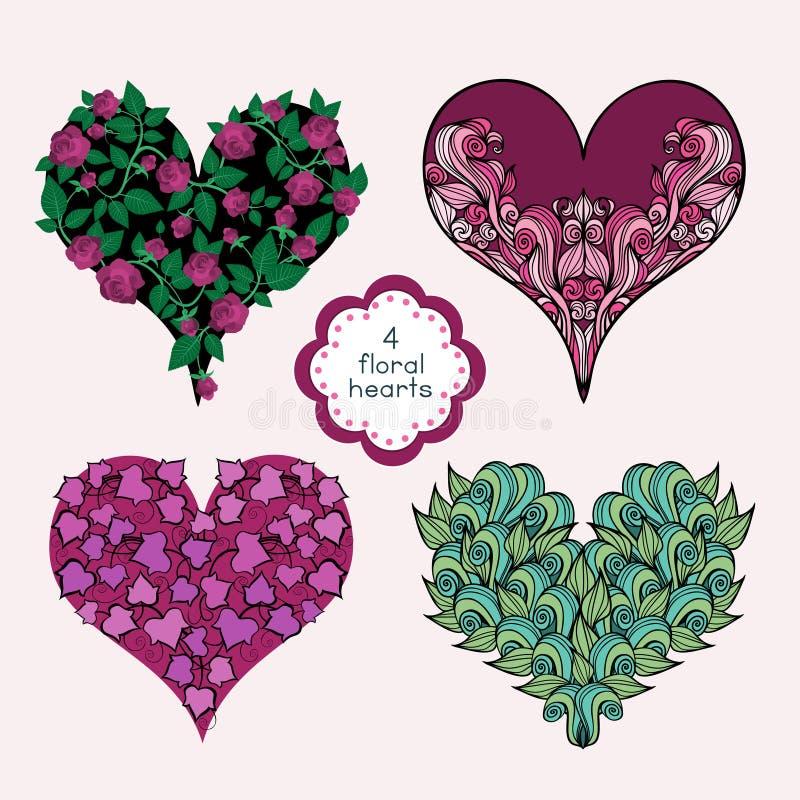 floral καρδιές που τίθενται απεικόνιση αποθεμάτων