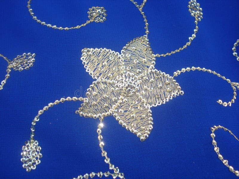 Floral κεντητική στο μπλε saree με τους χρυσούς καλλωπισμούς νημάτων & ακολουθίας μεταξιού στοκ εικόνα με δικαίωμα ελεύθερης χρήσης
