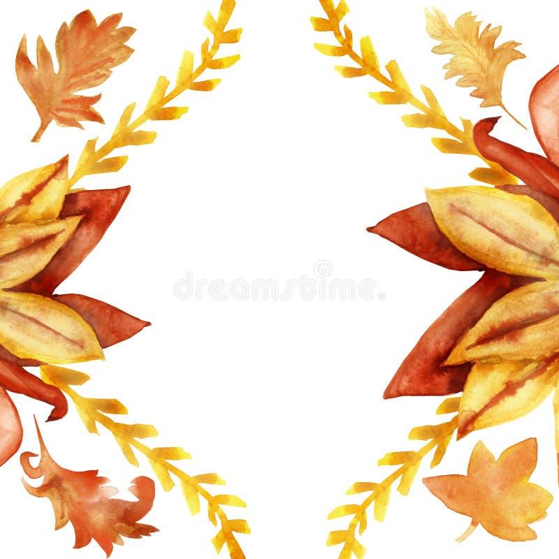Floral κλάδοι πλαισίων watercolor φθινοπώρου κίτρινος φύλλα και Burgundy, κόκκινος και, στο άσπρο υπόβαθρο ελεύθερη απεικόνιση δικαιώματος