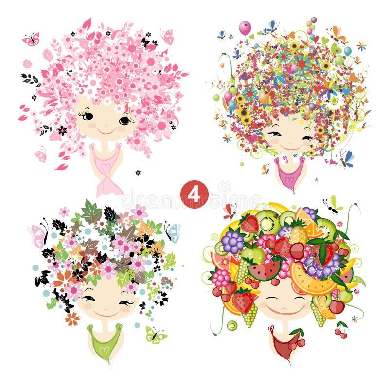 Floral κορίτσια Έννοια εποχών για το σχέδιό σας ελεύθερη απεικόνιση δικαιώματος