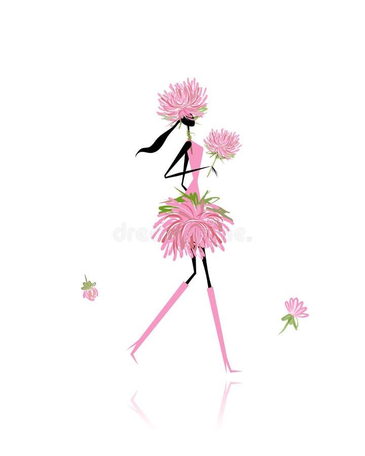 Floral κορίτσι για το σχέδιό σας ελεύθερη απεικόνιση δικαιώματος