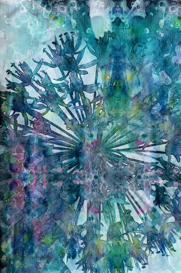 Floral κολάζ Watercolor διανυσματική απεικόνιση