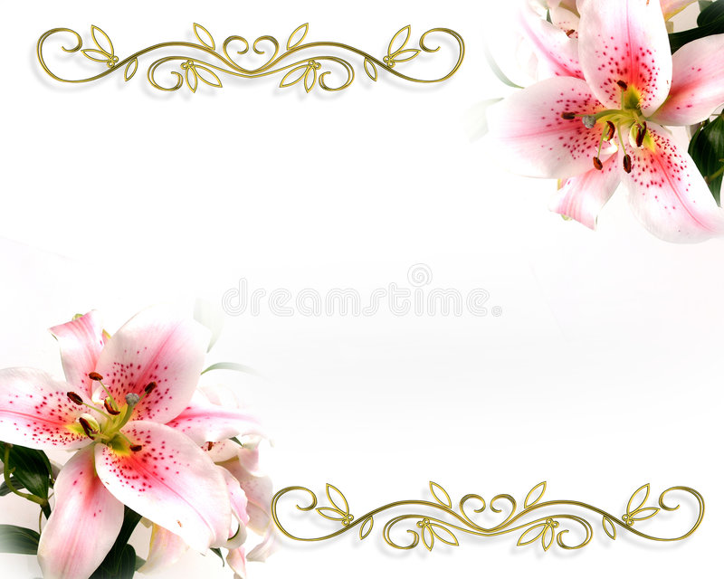 floral κρίνος πρόσκλησης σχεδίου ρομαντικός απεικόνιση αποθεμάτων