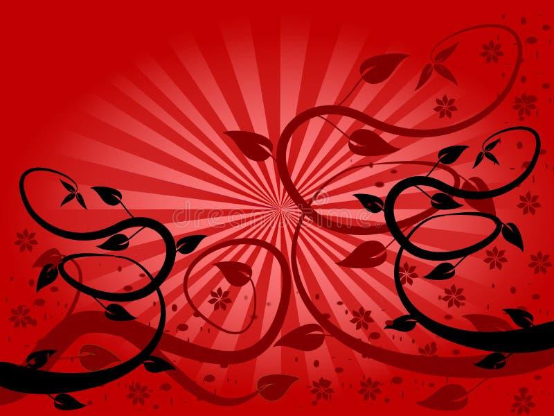 floral κόκκινο ανεμιστήρων ανασκόπησης ελεύθερη απεικόνιση δικαιώματος