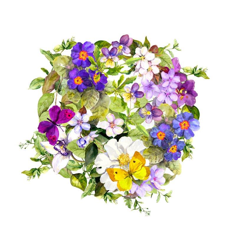 Floral κύκλος - άγριο χορτάρι, λουλούδια, πεταλούδες αρχαίο watercolor εγγράφου ανασκόπησης σκοτεινό κίτρινο στοκ εικόνα