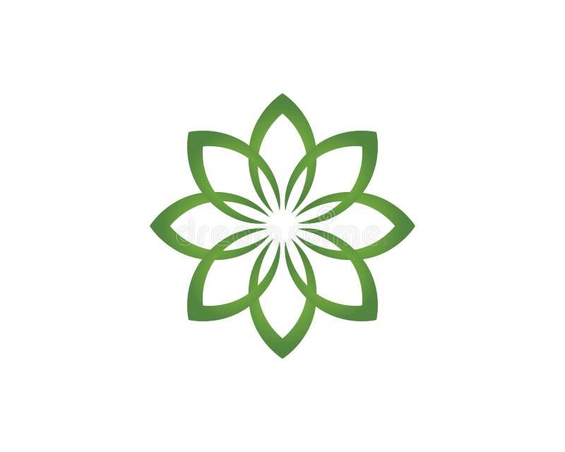 Floral λογότυπο και σύμβολα σχεδίων φύλλων σε ένα άσπρο υπόβαθρο ελεύθερη απεικόνιση δικαιώματος