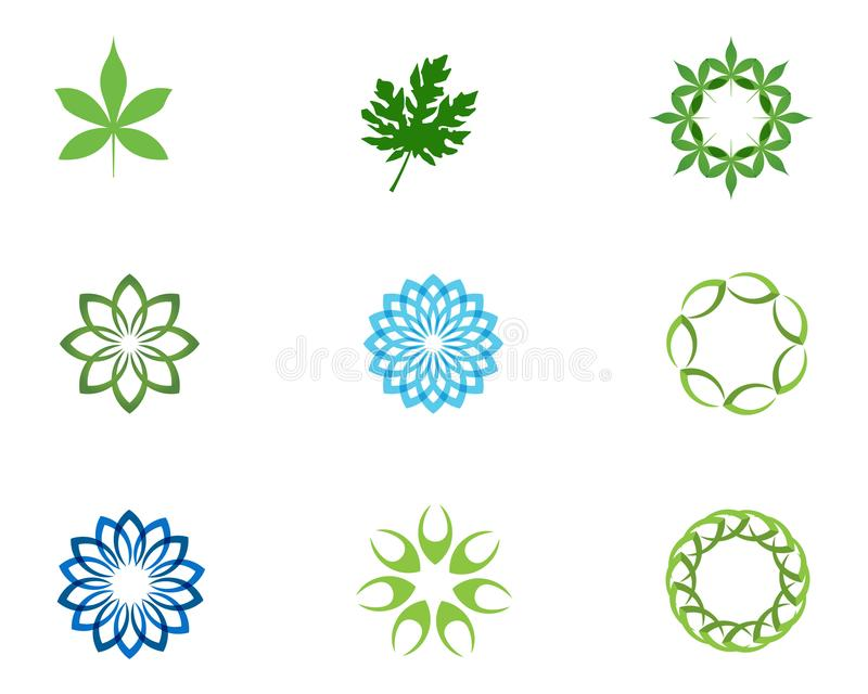 Floral λογότυπο και σύμβολα σχεδίων φύλλων σε ένα άσπρο υπόβαθρο διανυσματική απεικόνιση