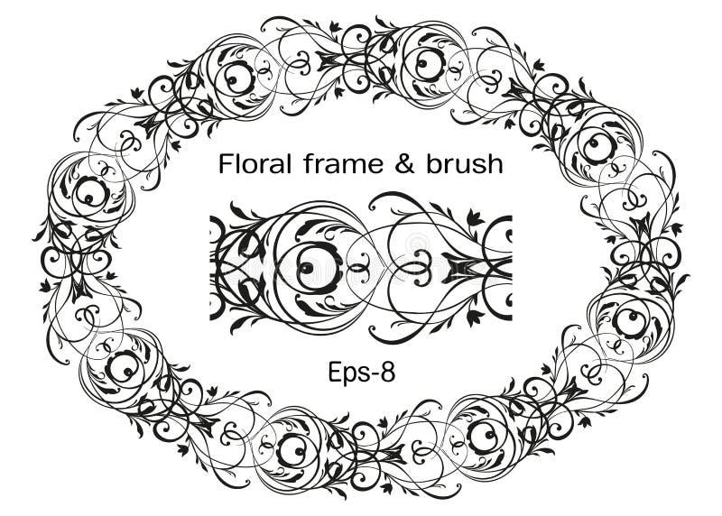 Floral μαύρο περίκομψο στεφάνι που απομονώνεται στο άσπρες υπόβαθρο και τη βούρτσα Ωοειδές διανυσματικό στοιχείο Horisontal Εκλεκ απεικόνιση αποθεμάτων