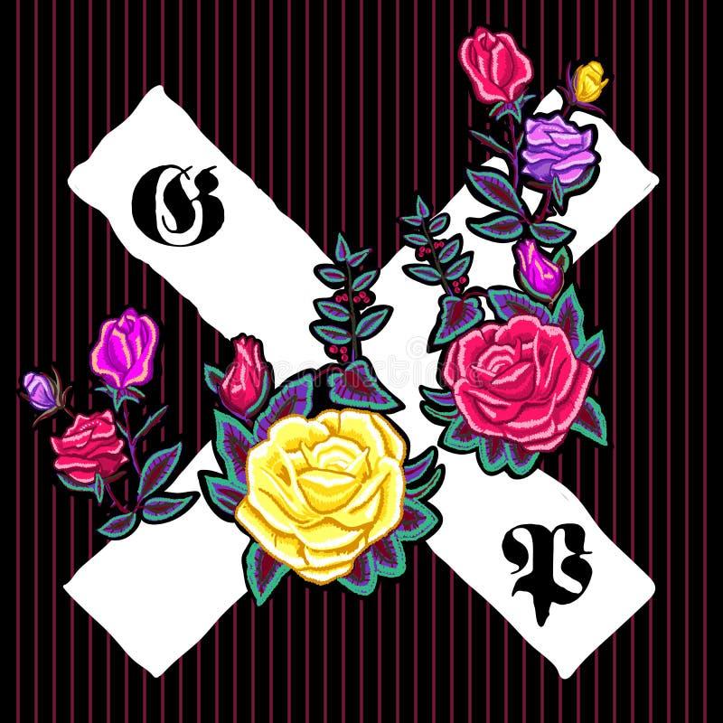 Floral μπάλωμα κεντητικής με τα τριαντάφυλλα και τα γοτθικά σημάδια απεικόνιση αποθεμάτων