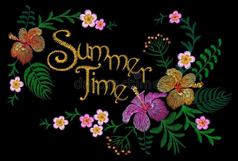 Floral μπάλωμα κεντητικής Διακόσμηση θερινών εξωτική τροπική λουλουδιών Υφαντική τυπωμένη ύλη μόδας Hibiscus κάτοικος της Χαβάης  διανυσματική απεικόνιση