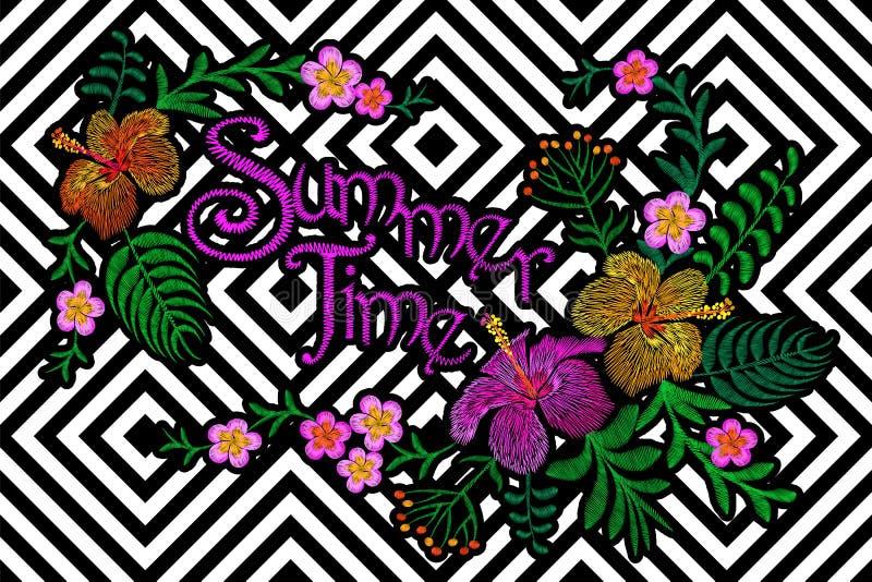 Floral μπάλωμα κεντητικής Διακόσμηση θερινών εξωτική τροπική λουλουδιών Υφαντική τυπωμένη ύλη μόδας Hibiscus κάτοικος της Χαβάης  ελεύθερη απεικόνιση δικαιώματος