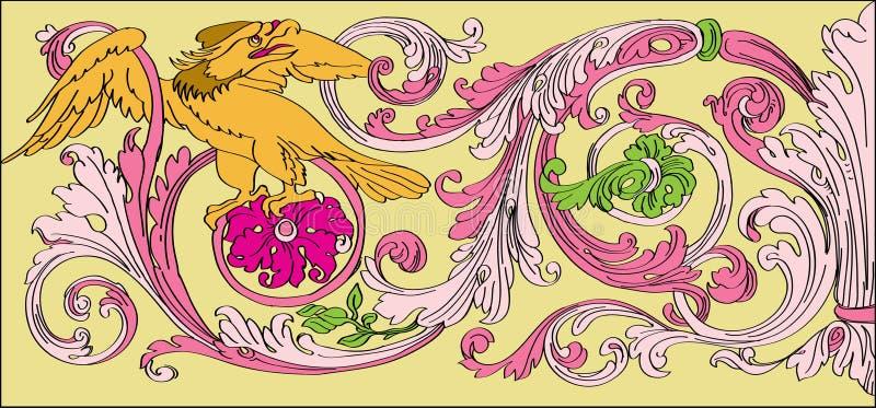 Floral μπαρόκ ύφος διανυσματική απεικόνιση
