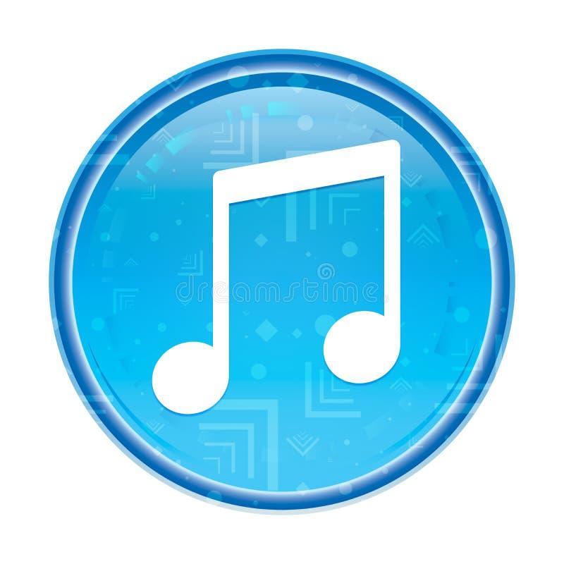 Floral μπλε στρογγυλό κουμπί εικονιδίων σημειώσεων μουσικής ελεύθερη απεικόνιση δικαιώματος