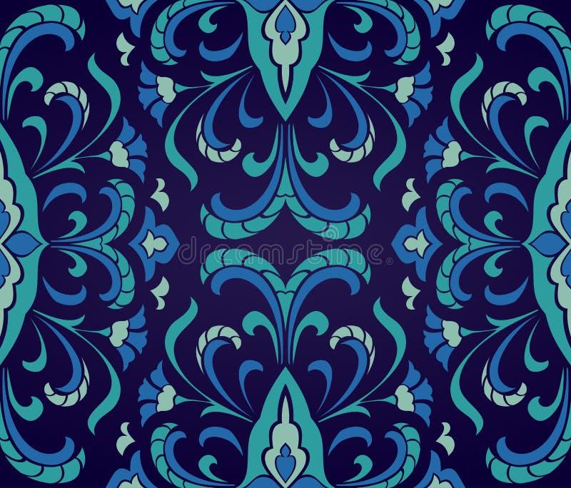 Floral μπλε διακόσμηση διανυσματική απεικόνιση