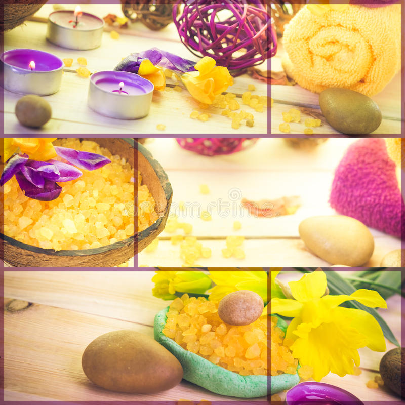 Floral νερό κολάζ Wellness - συλλογή σειράς λουτρών salt spa στοκ φωτογραφία με δικαίωμα ελεύθερης χρήσης