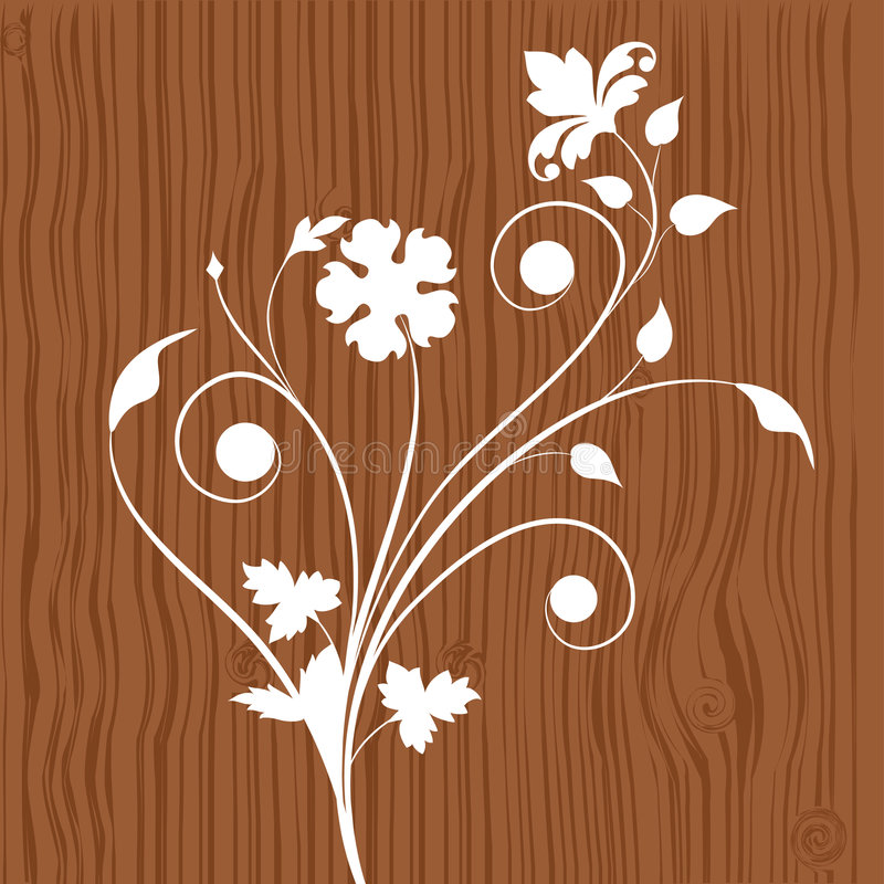 floral ξύλινος ανασκόπησης διανυσματική απεικόνιση
