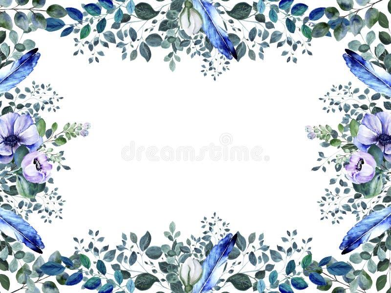 Floral ορθογώνιο πλαίσιο λουλουδιών anemone watercolor premade ελεύθερη απεικόνιση δικαιώματος