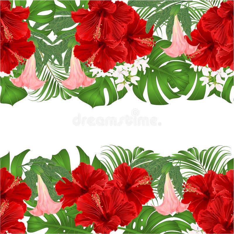 Floral οριζόντια ανθοδέσμη υποβάθρου συνόρων άνευ ραφής με την τροπική floral ρύθμιση λουλουδιών, με κόκκινα hibiscus, φοίνικας,  ελεύθερη απεικόνιση δικαιώματος