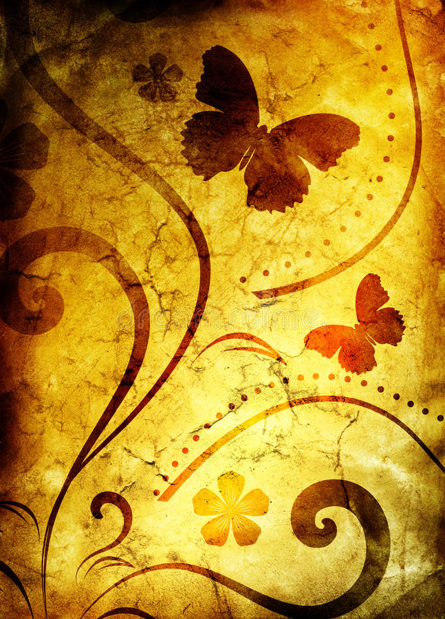 floral παλαιό πρότυπο εγγράφου ελεύθερη απεικόνιση δικαιώματος