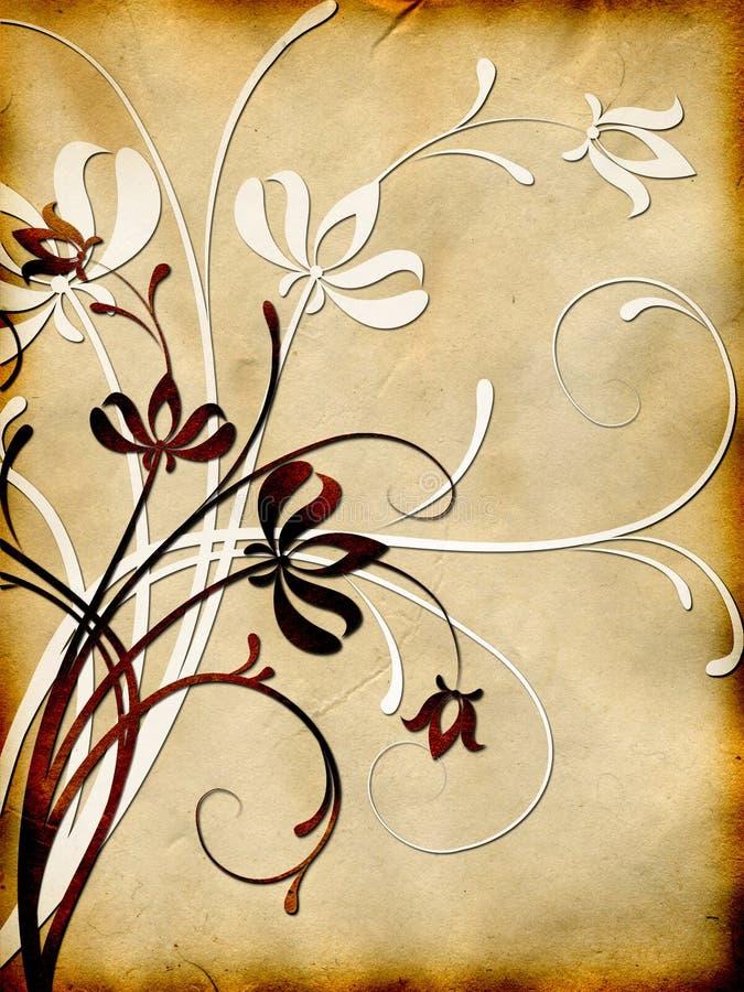 floral παλαιό πρότυπο εγγράφο&upsilon διανυσματική απεικόνιση