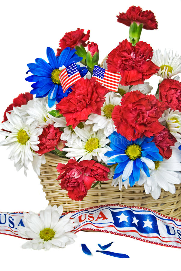 floral πατριωτικός καλαθιών στοκ εικόνα με δικαίωμα ελεύθερης χρήσης