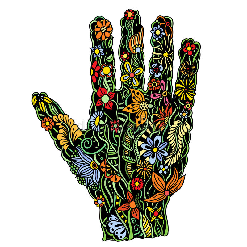 Floral παλάμη, χέρι που σύρεται ελεύθερη απεικόνιση δικαιώματος