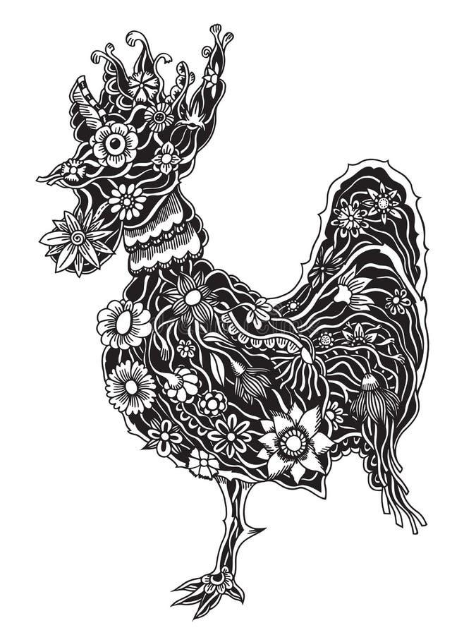 Floral περίκομψος κόκκορας διανυσματική απεικόνιση
