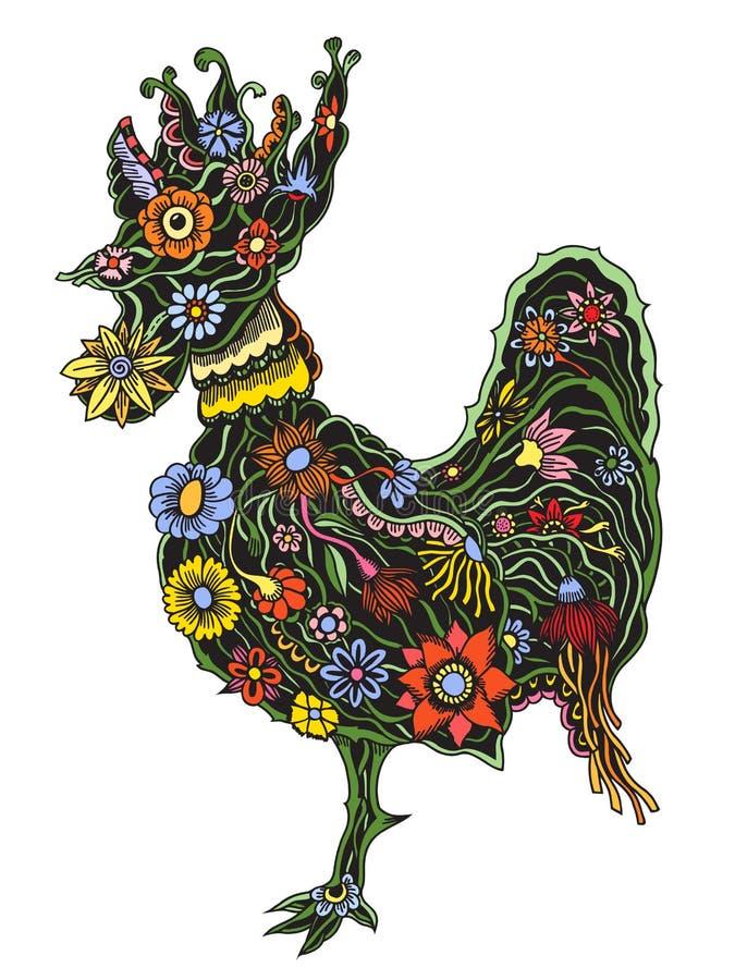 Floral περίκομψος κόκκορας απεικόνιση αποθεμάτων