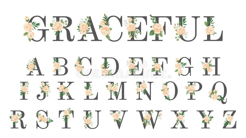 Floral πηγή Η γαμήλια πρόσκληση πολυτέλειας ανθίζει τις επιστολές, μοντέρνο αλφάβητο λουλουδιών και αυξήθηκε διανυσματική απεικόν διανυσματική απεικόνιση
