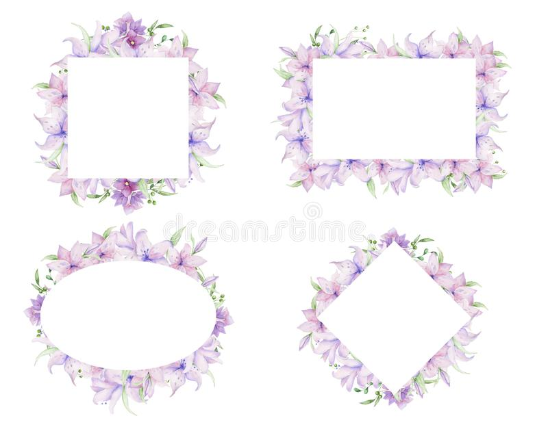 Floral πλαίσια με τα ρόδινα λουλούδια και τα διακοσμητικά φύλλα Σχέδιο πρόσκλησης Watercolor οριζόντιο Υπόβαθρο για να σώσει την  στοκ εικόνες