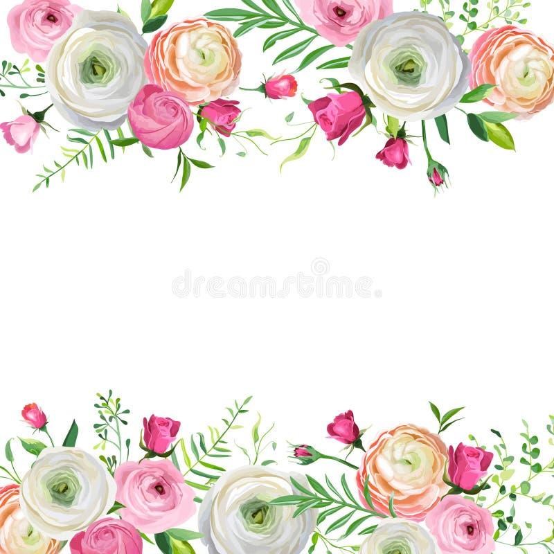Floral πλαίσιο άνοιξης και καλοκαιριού για τη διακόσμηση διακοπών Γαμήλια πρόσκληση, πρότυπο ευχετήριων καρτών με τα ανθίζοντας λ απεικόνιση αποθεμάτων