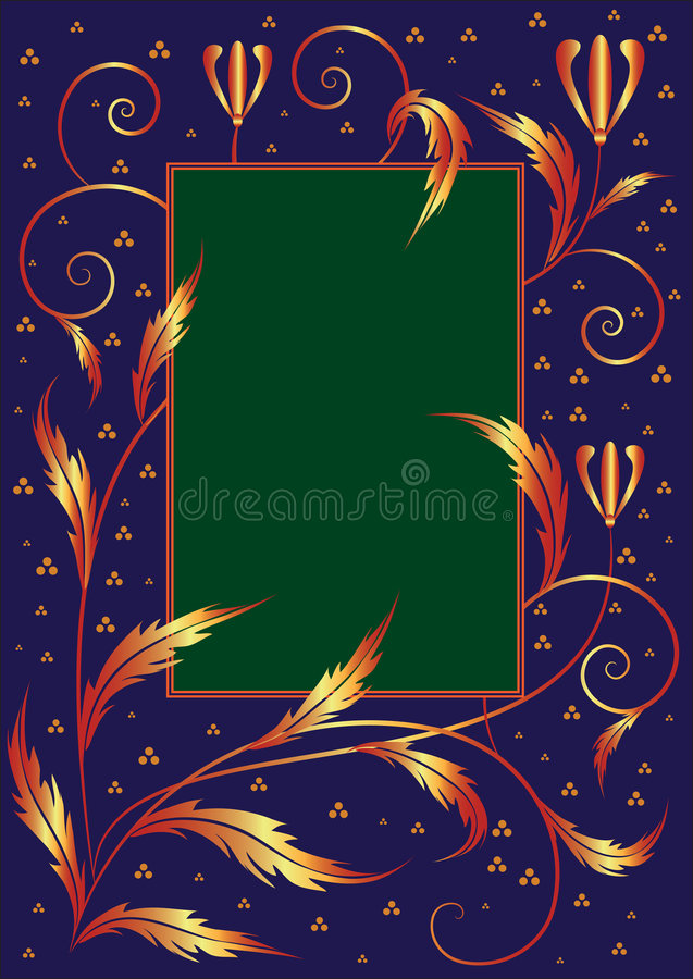 floral πλαίσιο αναδρομικό διανυσματική απεικόνιση