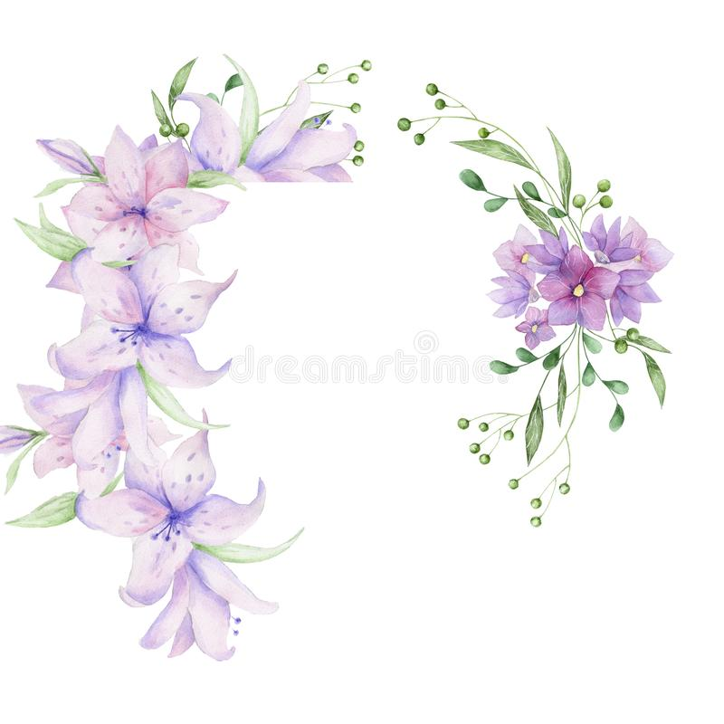 Floral πλαίσιο με τα ρόδινα λουλούδια και τα διακοσμητικά φύλλα Σχέδιο πρόσκλησης Watercolor Υπόβαθρο για να σώσει την ημερομηνία διανυσματική απεικόνιση