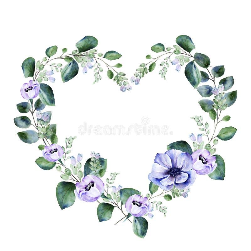 Floral πλαίσιο μορφής καρδιών Watercolor με τα πορφυρά λουλούδια anemone και άνθι διανυσματική απεικόνιση