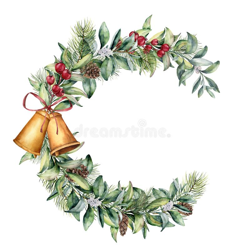 Floral πλαίσιο Χριστουγέννων Watercolor Το χέρι χρωμάτισε το floral κλάδο με τα μούρα και τον κλάδο έλατου, τον κώνο πεύκων, τα κ ελεύθερη απεικόνιση δικαιώματος