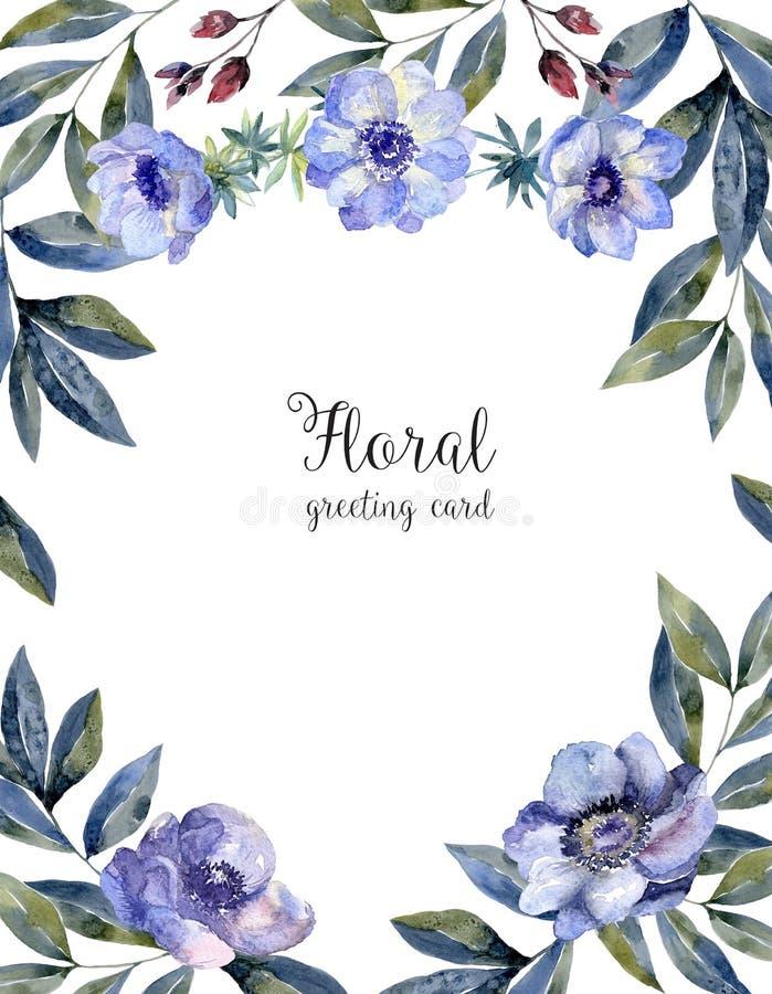 Floral πλαίσιο Watercolor για την κάλυψη ευχετήριων καρτών ελεύθερη απεικόνιση δικαιώματος