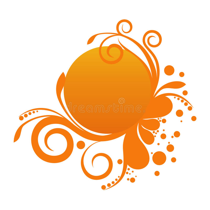 floral πορτοκάλι εμβλημάτων ελεύθερη απεικόνιση δικαιώματος