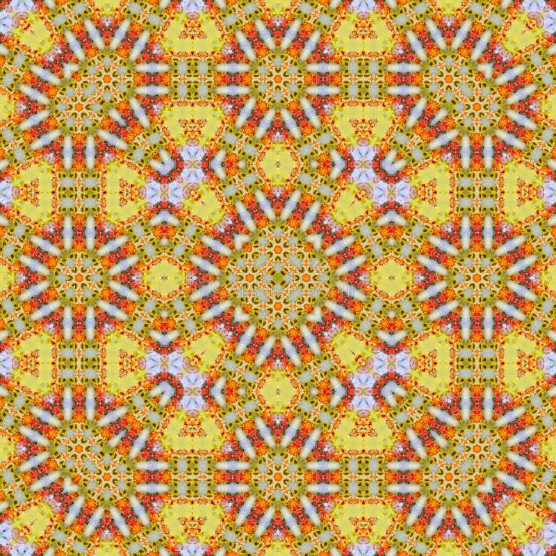 Floral πορτοκαλιά σύνορα διακοσμήσεων για την κουβέρτα, το μπατίκ και τον τάπητα Γεωμετρικό τετραγωνικό αφηρημένο υπόβαθρο απεικόνιση αποθεμάτων