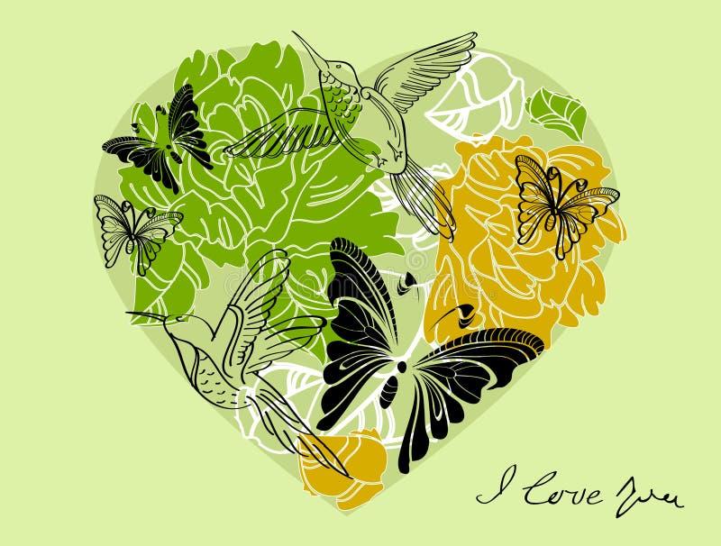 Download Floral πράσινη ανασκόπηση βαλεντίνων με την καρδιά Διανυσματική απεικόνιση - εικονογραφία από φυτό, γραφικός: 22789221